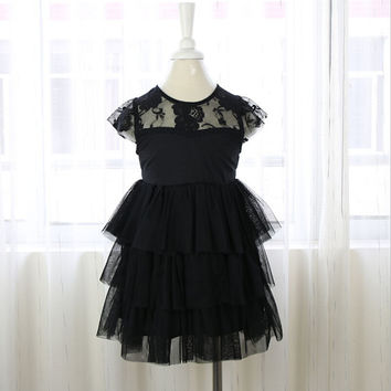 "The ""Colette"" Girls Black Lace Dress"