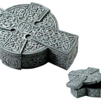 Celtic Cross in Cross and Round Shape Treasure Box 7.25L