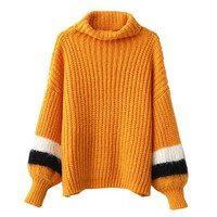Yellow Striped Lante Sleeve Sweater