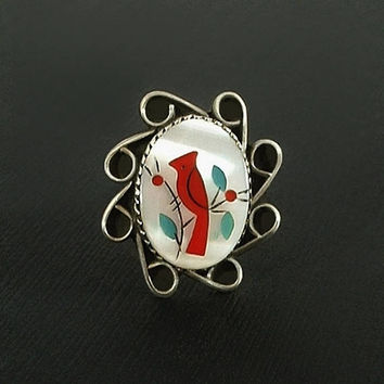 Vintage NATIVE American Sterling Red CARDINAL Ring Inlay Mosaic Bird TURQUOISE Coral Mother of Pearl Size 8.25 Signed c.1970's, Gift for Her