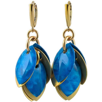 Constellation Blue Cluster Style Dangle Earrings with Gold Petals