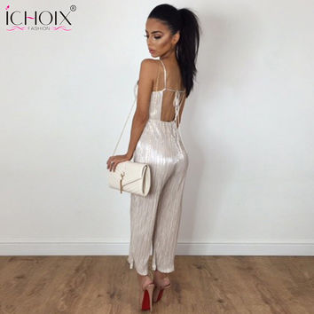 ICHOIX 2017 Women summer Fashion Sexy Jumpsuit Elegant Girls Sleeveless Straps Long Jumpsuits Plus Size Backless Solid Rompers