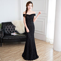 Evening dress 2017 autumn and winter black slit neckline long design sexy fish tail banquet formal dress female