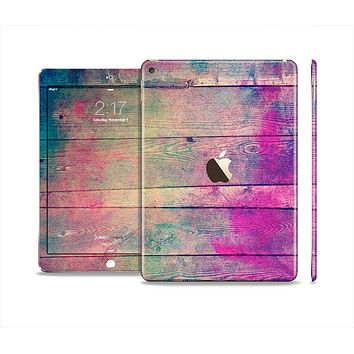 The Pink & Blue Grunge Wood Planks Skin Set for the Apple iPad Air 2