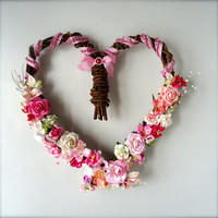 Grapevine Heart Wreath with Pink Handmade Mulberry Paper Flowers and Accents