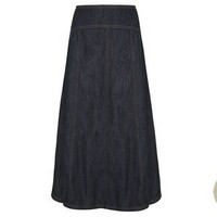 Denim Panelled Long Skirt at LAURA ASHLEY