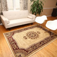 2120 Ivory Medallion Traditional Area Rugs