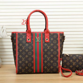 LV Fashionable Women Shopping Bag Monogram Leather Stripe Tote Handbag Shoulder Bag Wrist Bag Set Two Piece Red
