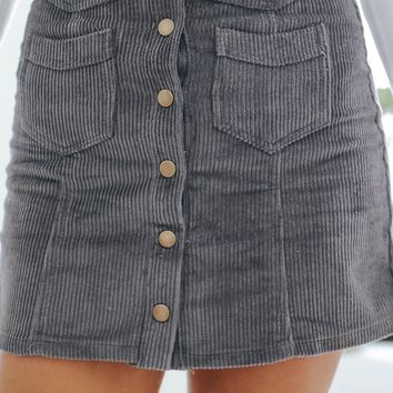Stand Out Mini Skirt - Smoke