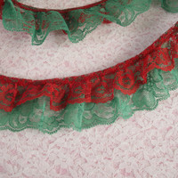 Gathered Double Ruffled Lace Trim, Red and Green Lace ,Apparel, Costumes, Doll Clothes, Fashion Accessories, Decorative Lace Trim, 2 YARDS