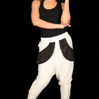 Capital G White Harem Streetwear Jersey Pants at Threader® Streetwear, Hip Hop Clothing, and Urban Clothing