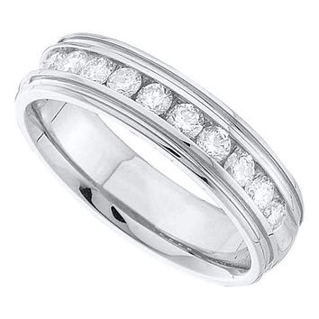 14kt White Gold Men's Round Diamond Wedding Band Ring 1/4 Cttw - FREE Shipping (US/CAN)
