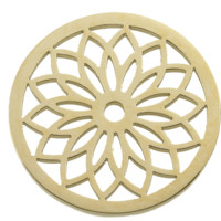 Stainless Steel Coin Disc Gold Plated Flower 33mm