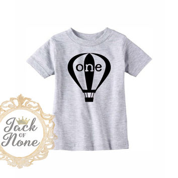 First Birthday Boy Shirt - White or Heather - Boys Hot Air Balloon Tee -  One Year Birthday Shirt - First Birthday Hot Air Balloon T-shirt