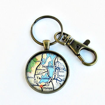 Seattle Map Keychain / Tacoma Map Keychain / Groomsmen Gifts / Moving Away Gifts / Gift for Boyfriend / Teacher Gift / Retirement Gifts