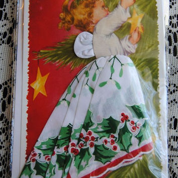 Christmas Angel Hankie Card - Holly