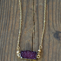 Dainty Stone Necklace - Wine