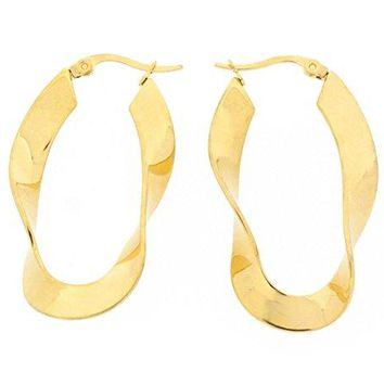 Ben and Jonah Stainless Steel Gold Plated Twisted Fettuccine Hoop Earring