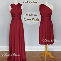 Burgundy Bridesmaid Dresses, gown convertible dress, infinity dress, maternity dress, bridesmaid gown, party dress, Wedding Dress, formal dr