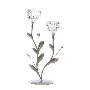 Iron Crystal Flower Duo Candle Holder
