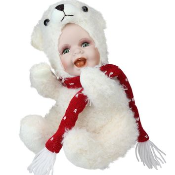 """9.25"""" Porcelain Baby in Polar Bear Costume Collectible Christmas Doll"""