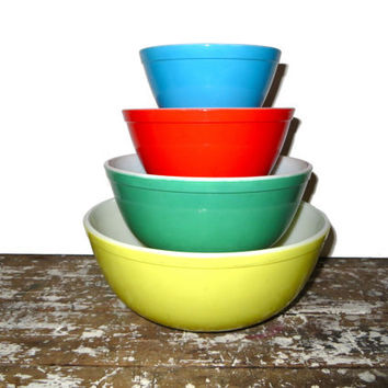 Shop Vintage Pyrex Primary Mixing Bowls on Wanelo