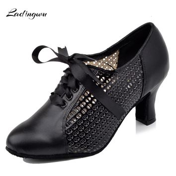 Ladingwu 2018 New Microfiber Synthetic Leather and PU Women's Teacher Dance Shoes Gray/Black Closed toe Ballroom Dance shoes