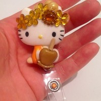 Fall Festival Baby Hello Casting Kitty Side Sitting Id Badge Reel