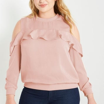Keepers Cold Shoulder Satin Top Plus Size