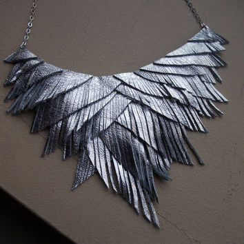 Silver Metallic Lame Leather Fringe Necklace