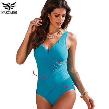 One Piece Swimsuit Women Plus Size Swimwear Retro Vintage Bathing Suits Beachwear Print Swim Wear Monokini
