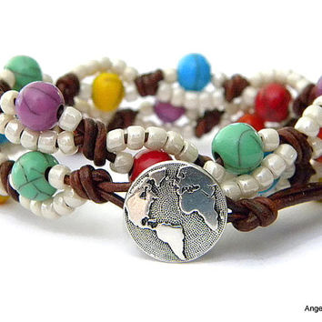 World Wrap Bracelet Entwined Leather Wrap Earth Double Wrap Bracelet