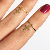 2 Gold Above the Knuckle Rings with a tiny cross from galisfly