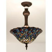 20 Inch W Tiffany Peacock Feather Semi-Flush Ceiling Fixture