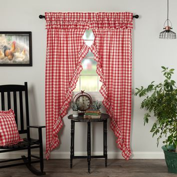 Annie Red Buffalo Check Ruffled Long Prairie Curtains