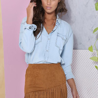 Brown Asymmetrical Tassel Bodycon Skirt