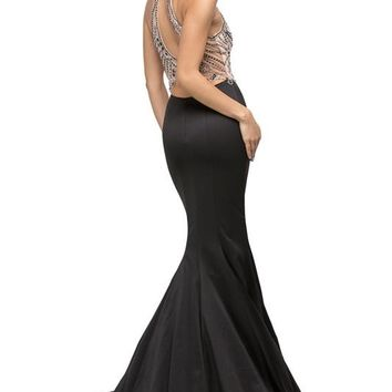 Satin mermaid pageant gown with rhinestone top  Dq 9706