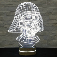 Darth Vader Shape, Star Wars, 3D LED Lamp, Kid's Room Decor, Amazing Effect, Nursery Light, Plexiglass Lamp, Decorative Lamp, Acrylic Lamp