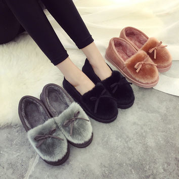 Butterfly Fur Rubber Soft-Soled Flats