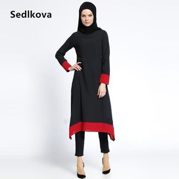 Muslim Woman Black Long Sleeve Moroccan Turkish Kaftan Abaya/Islamic Blouse Dubai Girls Robes Dress/Clothes Malaysia Saudi Abaya