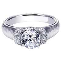 "Gabriel ""Maureen"" Hammered Diamond Solitaire Engagement Ring"