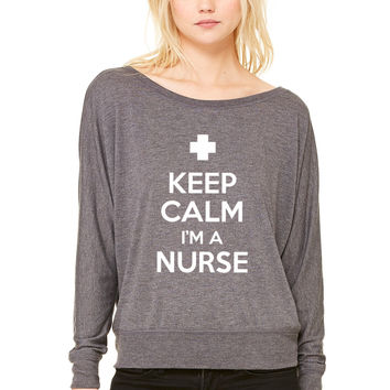 keep calm im a nurse WOMEN'S FLOWY LONG SLEEVE OFF SHOULDER TEE