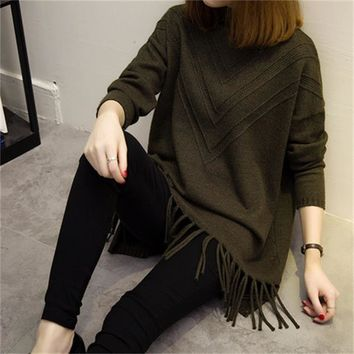 Women's Fall Loose Knitted Fringed Sweater