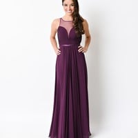 Eggplant Purple Chiffon Illusion Sweetheart Long Gown 2016 Prom Dresses