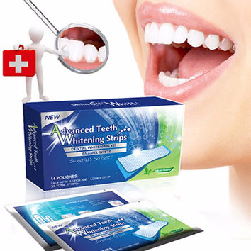 Oral Hygiene Teeth Whitening Strips Professional Bleaching Tooth Whitening Double Teeth Whitening Gel Dental Gel 14 Packs 28 Pcs