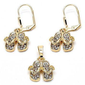 Gold Layered Earring and Pendant Adult Set, Shoes and Flower Design, with Crystal, Gold Tone