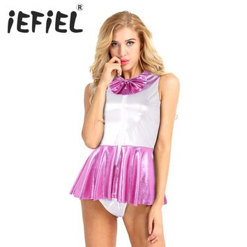 iEFiEL Fashion Sexy Women Adults Girls Shining Faux Leather Sailor School Cosplay Costume Dress Up Uniform Dress with G-string