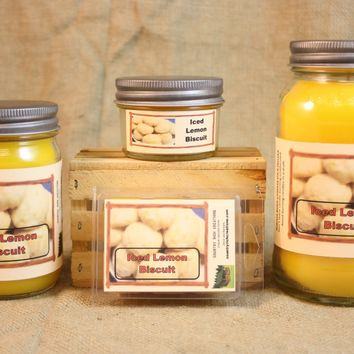Iced Lemon Biscuit Candle and Wax Melts, Bakery Scent Candle, Highly Scented Candles and Wax Tarts, Mason Jar Candle, Housewarming Gift