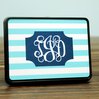Personalized Striped Trailer Hitch with Monogram