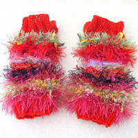 Knit hand warmers, fuzzy wrist warmers, knit cuffs, fingerless gloves